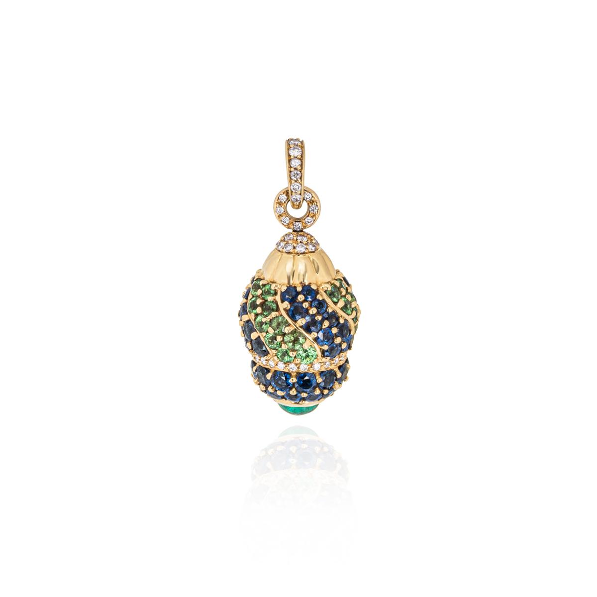 Yellow Gold Diamond, Sapphire and Peridot Egg Pendant